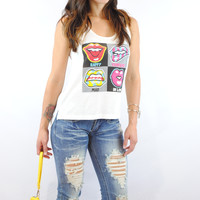 (ank) Happy confused mad in love loose fit tank