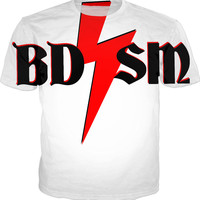 BDSM tee shirt, kinky adult fetish clothing, red and black on white