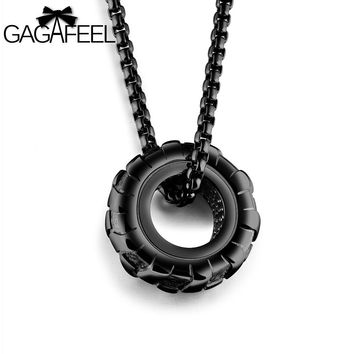 GAGAFFEL Statement Necklace Cool Tire Wheel Pendants Men Jewelry Stainless Steel 3