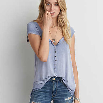 AEO Soft & Sexy Henley T-Shirt , Peaceful Sky Blue