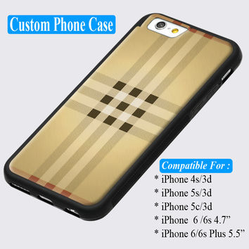 Burberry Fashion London Gold Pattern Check Custom iPhone cases 4/4s 5/5s 6/ 6s