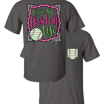 Southern Couture Livin the Baseball Life Sports Chevron Faux Pocket Girlie Bright T Shirt