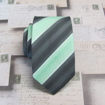 Mens Ties. Mint Green Charcoal Gray Stripes Neckties. Wedding Ties.