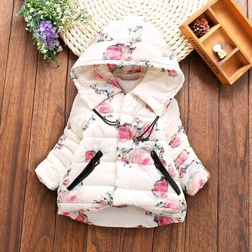 Baby Girls Floral Print Thick Warm Hooded Cotton Down Coats Snow Wear Children's Outerwears Baby Girls Clothes 2017 Winter