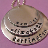 Triple Layer Name Necklace - Lg XL XXL --- Three names on a hand stamped necklace, personalized for you