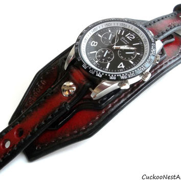 Red and Black Leather Cuff Watch, Wrist Watch, Men's watch, Bracelet Watch, Watch Cuff