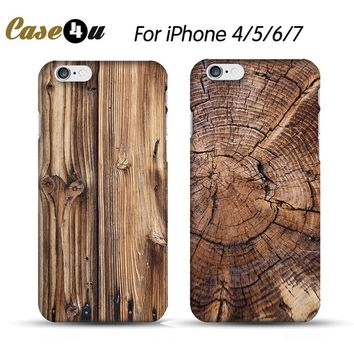 Vintage Wood Wooden Bamboo Printing Pattern Hard Plastic Cellphone Case For fundas iphone 4 5 4s 5s 6 6s 7 Plus