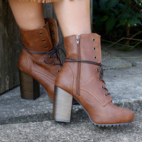 City Walk Camel Lace Up Platform Bootie With Chunky Heel & Side Zipper