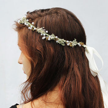 Moss and Pearl Crown - Woodland Wedding Bridal Crown, Bridal Hair Wreath. Bridal Headband, Rustic Weddings, Pearl Tiara, Circlet