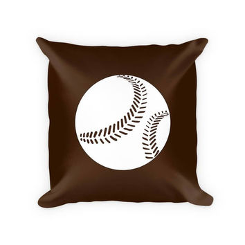 Softball I Children's Woven Cotton Throw Pillow