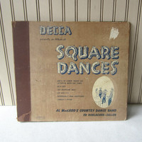 Vintage Decca Square Dance Record Storage Album Cover Held 3 Records ~ Empty ~ Al MacLeod's Country Dance Band Ed Durlacher Caller