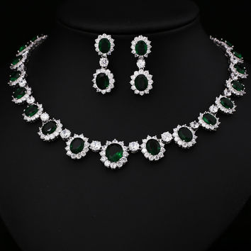 Green  Cubic Zircon Jewelry Set