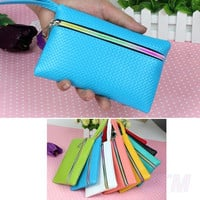 Candy Color Zipper Women Girls Purse With Strap Paper Money Coins Telephone Bag Fashion Wallets = 1958752836