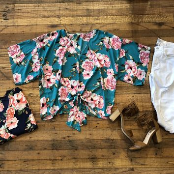 Felicia  Floral Tie Front Top in Navy and Turquoise