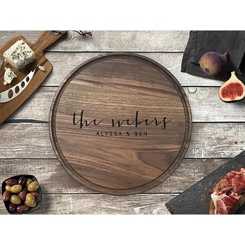 Personalized Engraved Round Cutting Board, Walnut Wood - CB08