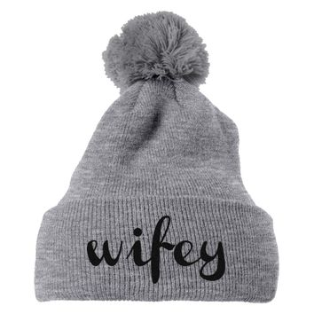 Wifey Embroidered Knit Pom Cap