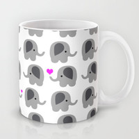 Coffee Mug Elephants with Hearts - Elephant Love - 11 oz - 15 oz - Ceramic Mug - Lots of Elephants - Made to Order