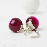 Sterling silver earrings, claret pink agate beads, dangle earrings, nature silver jewelry