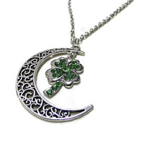 Antique Silver Moon and Four Leaf Clover Necklace, Crescent Moon, Celestial, Lucky Necklace, Celtic Charm, Green Rhinestone Leaf Necklace