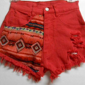 Vintage Red  High Waist   Denim Shorts Southwestern Print  Waist 25    inches
