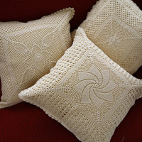 HANDMADE CROCHET CUSHION Covers - Set 2 Pillows- Mixed Designs - Cotton - Crochet Pillow Covers - Decorative Pillow - Bed Decor