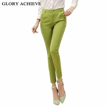 Elegant Pencil Pants For Women Office Ol Style Work Wear Skinny Pants Female Candy Color Trousers