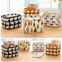 Cartoon Linen Desk Storage Box Home Cotton Organizer Case Jewelry Cosmetic Stationery Sundries Cute Animal Tree Decor 83235