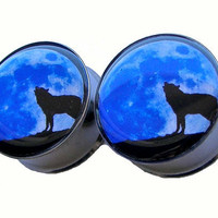 """Blue Moon Howling Plugs - 1 Pair - Sizes 2g, 0g, 00g, 7/16"""", 1/2"""", 9/16"""", 5/8"""", 3/4"""", 7/8"""" & 1"""""""