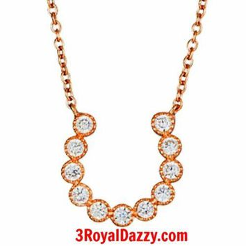 14k Pink Rose Gold layer on Sterling Silver Crystal CZ Horseshoe Charm Necklace