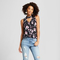 Women's Floral Print Choker Tank Top - Grayson Threads (Juniors') Black