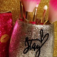 """Stay Beautiful"" Glitter Makeup Brush Holder"