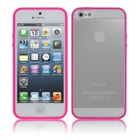 Cbus Wireless Pink TPU Bumper + Transparent Clear Hard Hybrid Cover Case for Apple iPhone SE / 5 5G 5S