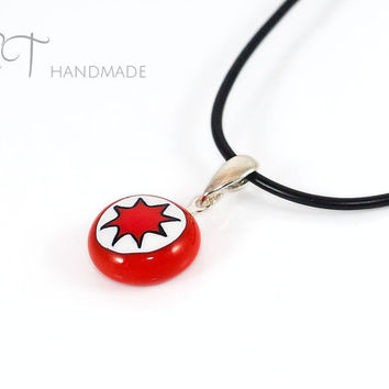 Star millefiori glass pendant-red & white Murano glass murrini and Sterling Silver Handmade italian artisan jewelry-casual pendant necklace