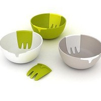 Hands On Salad Bowl with Integrated Servers