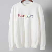 Burberry 2018 autumn and winter new knit men's embroidery color letter sweater White