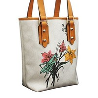 Gucci White Grasshopper Floral Tattoo Tote Bucket Handbag