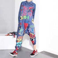 2016 Autumn Loose Long-sleeved Denim Personality Making Graffiti Harlan Piece Pants