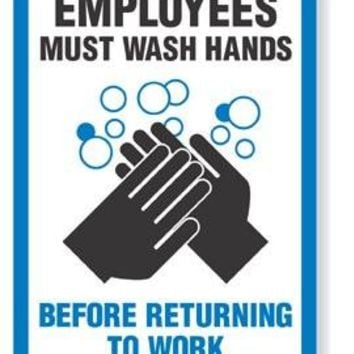 EMPLOYEES MUST WASH HANDS - Vinyl, Polyethylene or Magnet sign