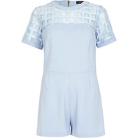 River Island Womens Light blue caged mesh yoke Romper
