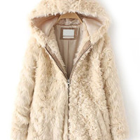 Apricot Faux Fur Zip-Up Hooded Coat