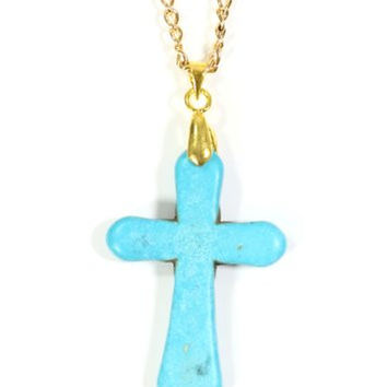 Turquoise Howlite Cross Necklace Gold Tone Statement Pendant NO33 Fashion Jewelry