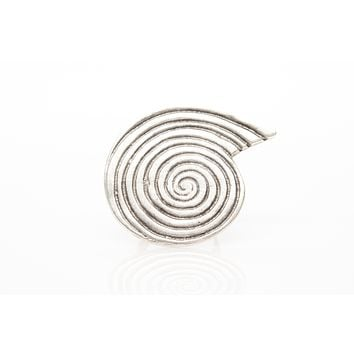 Nautilus Antique Silver Tone Adjustable Fashion Ring