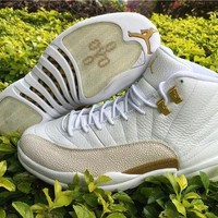 PEAPON1 Air Jordan 12 ovo while/golden  Basketball Shoes   41---47