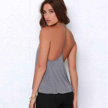 DCCKVQ8 Solid Color Fashion Backless Sleeveless Halter Loose Tops Small Vest