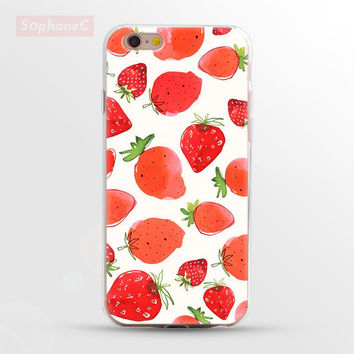 Ultrathin Soft TPU Case for iphone 5 5s SE 6 6s 6 Plus Strawberry Phone Case/Cover