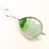 GENUINE Sea Glass Locket In Sterling Silver Teardrop Beach Glass Necklace