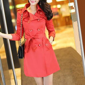 Red Notched Collar Double Breasted Bow Waist Trench Coat