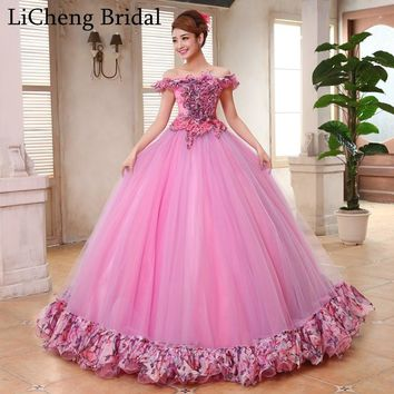 Romantic floral applique flower lace beading prom dress long Strapless sexy off shoulder prom dress ball gown vestido longo 2017