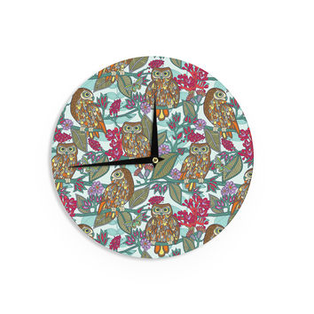 "Julia Grifol ""My Bookbooks Owls On Blue"" Brown Blue Wall Clock"