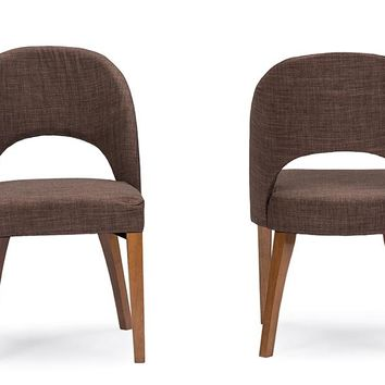 Baxton Studio Lucas Mid-Century Style Brown Fabric  Dining Chair Set of 2